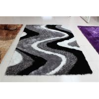 Quality Wave Design Structured White Black and Grey Polyester mixed shaggy rug for sale