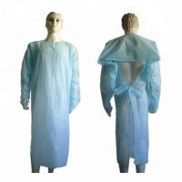 Quality Long Sleeve Plastic Hospital CPE Disposable Isolation Gowns for sale