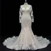 Buy long sleeves customize made lace application bridal gown wedding dresses at wholesale prices