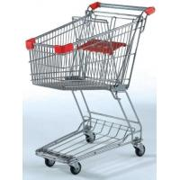 Quality Unfolding Metal Wire Supermarket Shopping Cart  , Asia Style 4 Wheeled Shopping Trolley for sale