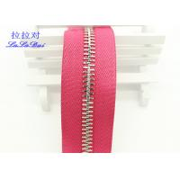 Buy High Polished Gold Long Chain Zipper Pink Polyester Tape For Garments / Bags at wholesale prices