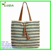 Quality Crochet Paper String Woven Tote Bags w/PU Leather for sale