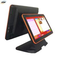 Quality Black All In One Pos Dual Screen Pos Cash Register 15 Inch Aluminum Alloy Base for sale