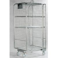 Quality Stainless Steel Roll Container Lockable Steel Cage With One Shelf Net for sale