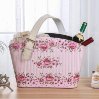 China 2 Sets Sweet Rose Floral Design PU Leather Household Recycle Use Basket Food Drink Wine Container for Christmas Wedding on sale