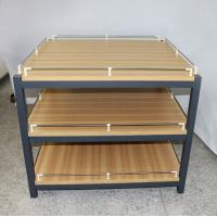 Quality Anti Rust Retail Store Iron Promotion Wooden Display Rack With Barrier / Wood Display Stand for sale