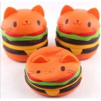Quality Cute Bread Jumbo Cat Head Burger Soft PU Stress Relief Slow Rising Squishy Scented Toys For Kids / Adults for sale