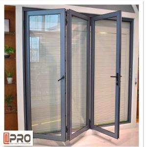China Powder Coated Aluminium Bifold Doors Anti Aging Folding Panel Doors GLASS FOLDING DOOR HARDWARE FOLDING DOOR on sale