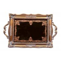 Quality Red Copper Rectangular Mirror Vanity Tray / Printing Antique Mirror Tray Vanity for sale