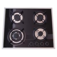 Built In Installation Home Gas Stove 8mm Tempered Glass Panel Stainless Steel Surface