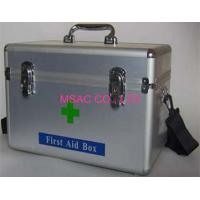 Quality Metal Emergency First Aid Kit Boxes With Straps For Transport , Silver for sale