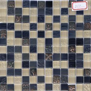 China 300x300mm scrabble tile wall art,ceramic mosaic tile, blue mix color on sale