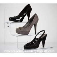 Quality OEM shoe retail store used stepped Acrylic Shoe Display Rack for sale