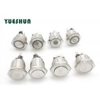 Quality 22mm 25mm Stainless Steel Push Button Switch , Round Push Button Switch Power Symbol LED for sale