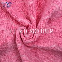Quality Watermelon Red Color Microfiber Jacquard Fabric For Cleaning Cloth Using for sale
