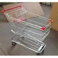 Quality Metal Supermarket Rolling Shopping Carts Chrome Plating 90L With Baby Seat for sale