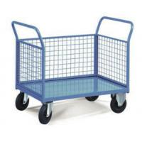 Quality Two Handles 3 Mesh Sides Food Store Trolley For Industrial Warehouse for sale