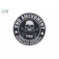 China Polyester Background Material Motorcycle Leather Vest Patches Skull Shape on sale