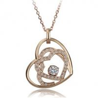 Buy cheap Romantic Hearts crystal women necklace wedding pendant necklace gold plated from wholesalers