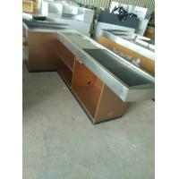 Buy Automatic Conveyor Belt Checkout Counter Stands With Stainless Steel Border at wholesale prices