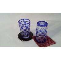 Quality Eco - Friendly Colored Glass Water Set Blue Painting Tumbler Household for sale