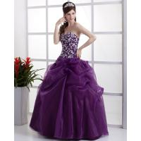Quality Purple gorgeous V Neck Ball Gown Wedding dress for commercial use for sale