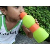 Leak Proof  Protable Green Silicone Foldable Sports Drinking Bottle For Kids