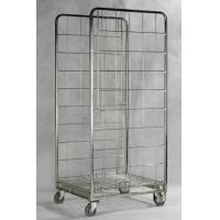Quality Zinc Galvanized Foldable Storage Trolley / Roll Cage Container 717 * 823 * 1715 Mm for sale