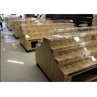 Quality Double Sided Supermarket Wooden Store Display Racks / Wooden Retail Shelving With Acrylic Box for sale