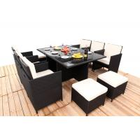 Quality Promotion Rattan Furniture 11PCS Indoor / Outdoor Rattan Dining Sets Set With Cushion for sale