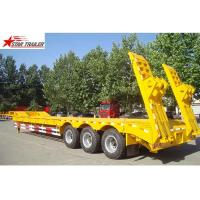 Quality 60T Semi Low Bed Trailer , Hide Tire 3 Axle Low Bed Trailer With Strong Trailer Frame for sale