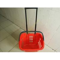 Quality Plastic Drawer Shopping Basket With Wheels / Extendable Handle For Grocery for sale