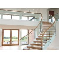 Solid Wood Apartment Stairs Carbon Steel Beam With Clear