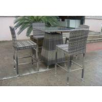 Quality Hand-Woven Grey Rattan Bar Set , Resin Wicker Patio Bar Furniture for sale