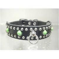 Quality Genuine dog collar with rivets and bead for sale