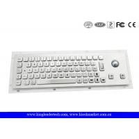 Quality Brushed Metal Industrial Panel Mount Keyboard With 25mm Diameter Trackball for sale