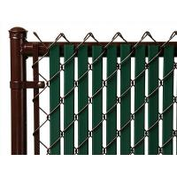 This is a chain link fence with slat that has top lock.