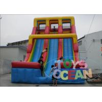 Quality Blue / Red Double Inflatable Slides 24 Ft 0.55mm PVC Vinyl Tarpaulin For Rental for sale