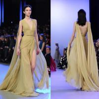 Quality Deep V Sexy Back High Slit Long Style Evening Dresses For Women , Banquet Chiffon Dress for sale