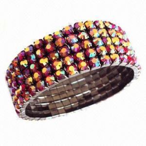 Quality Slim AB rhinestone five row stretch bracelet, used to wear around wrist for sale