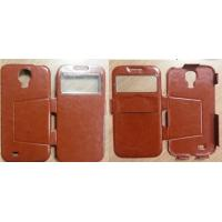 Quality Anti-scratch Brown Iphone Protective Covers Customized PU Leather Pouches for Samsung 9500 / S4 for sale