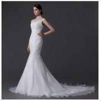 China Ladies Organza mermaid One Shoulder Wedding Gowns cathedral train wedding dresses on sale