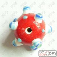 Quality Handmade Small hole  Glass Beads-red with white blue dots for sale