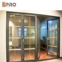 Horizontal Aluminum Folding Doors For Kitchen With Double Tempered Glass folding doors with mosquito net