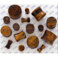 Quality Tiger Eye stone Ear Plug body jewelry 3-25mm Natural stone for sale