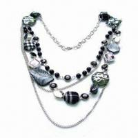 China Skin-friendly Beaded Necklace, Made of Alloy, Crystal, Cords, Ribbon, Feather, Resin and Plastic on sale