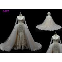 Buy cheap Long Sleeves lace application detached train mermaid wedding dresses from wholesalers