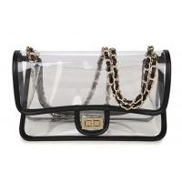 Quality High Transparency PVC Cosmetic Bag Cross - Body Purse Bag With Chain Shoulders for sale