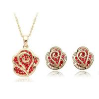 Quality Rose Crystal wedding jewelry sets 5 colors necklace earring sets TJ0127 for sale