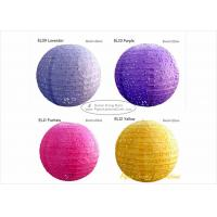 Quality 35cm Eyelet Pink Round Paper Lanterns with Metal Wire material 14 inch for sale